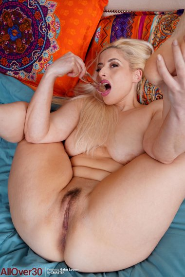 Busty blonde MILF Galas Looner gets fucked by a dildo