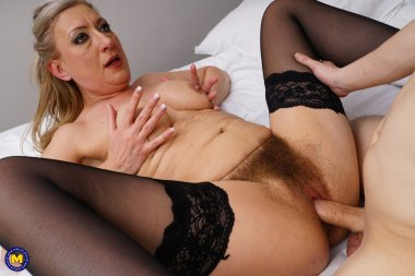 This naughty toy boy gets a Hairy mature pussy to please
