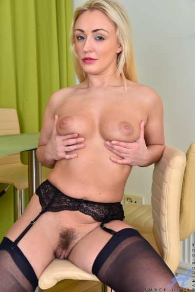Blonde steamy MILF shows off her hairy pussy