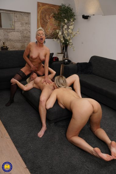 Three old and young lesbians party on their own