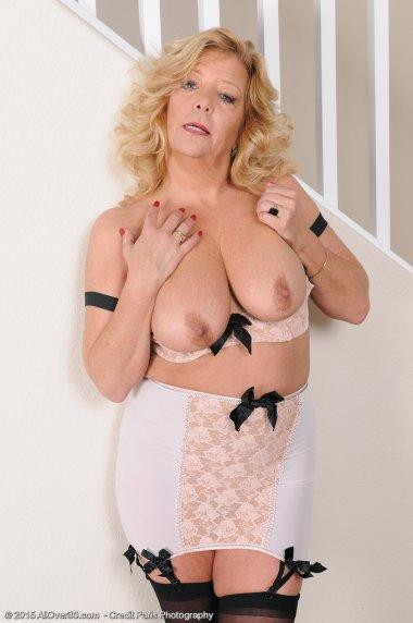 Beautiful 52 year old Karen Summer in stilettos and black stockings